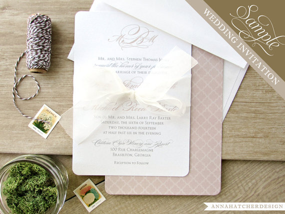 SAMPLE ONLY / Simply Classic Wedding Invitation Only / Sample ...