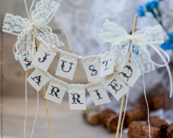 SMALL Lace Just Married Wedding Cake Topper Banner With Pearls ...
