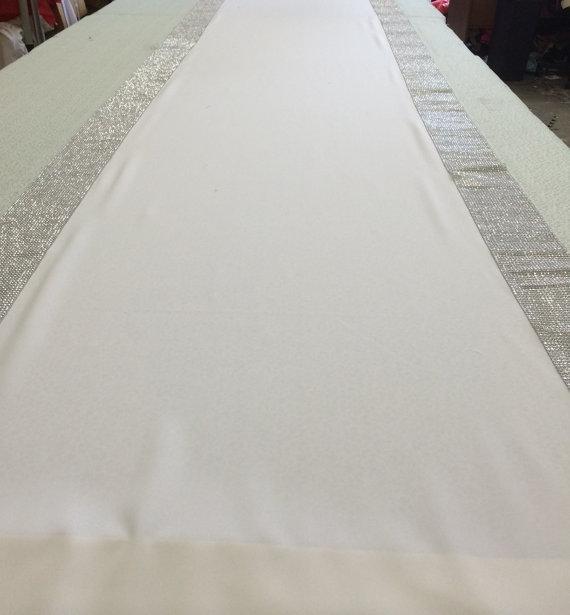 Custom Made White Gabardine Aisle Runner 25 Ft With Silver Rhinestone Sparkle