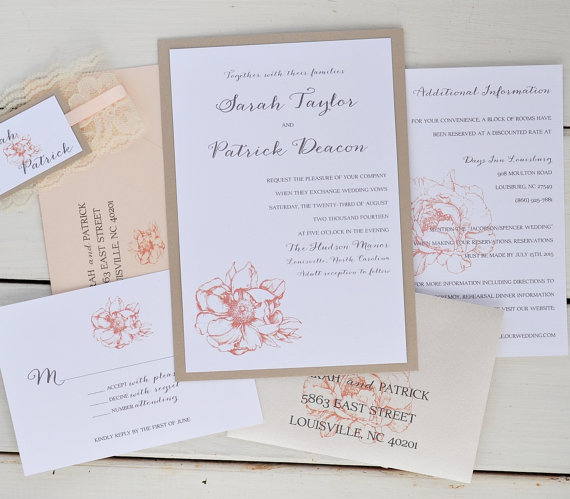 Mariage - Peony Country Wedding Invitation, Rustic Invitation, Pink Peach with Lace Belly Band - Sample