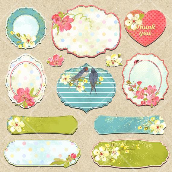 instant download digital spring summer flower tags labels clipart