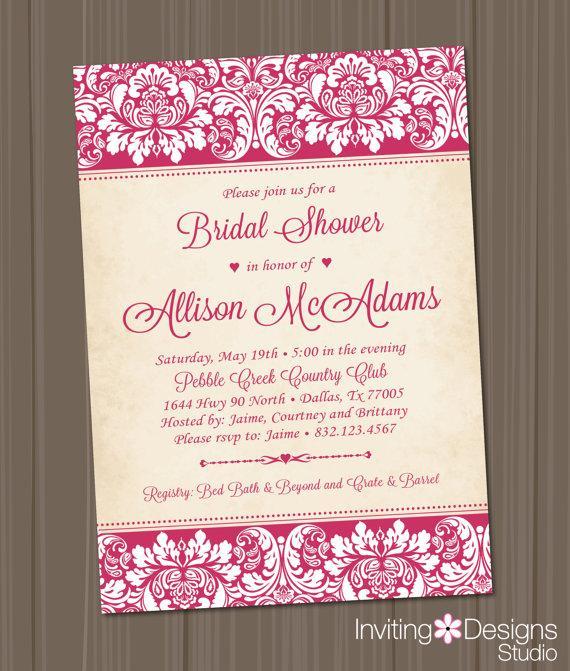 زفاف - Elegant Bridal Shower Invitation, Wedding Shower Invitation, Damask, Pink, Customize Your Colors (PRINTABLE FILE)