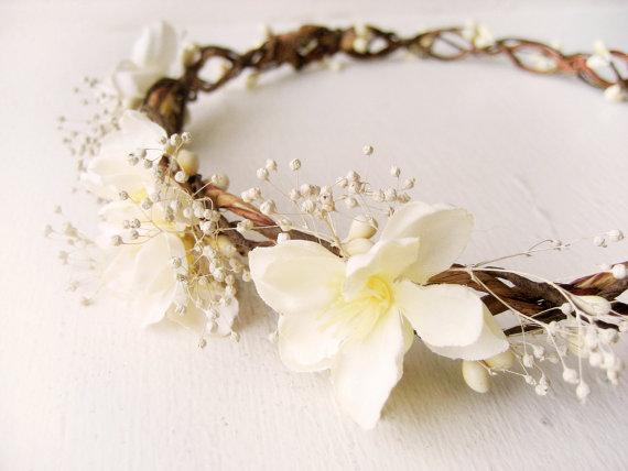زفاف - Rustic wedding hair accessories, Baby breath flower crown, Bridal headpiece, Floral headband, Wreath, Ivory - DOROTHY