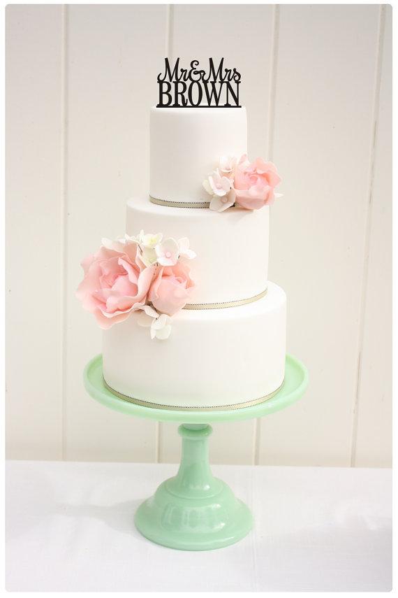 زفاف - Wedding Cake Topper Mr and Mrs Topper Design With YOUR Last Name