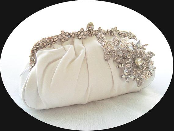 Hochzeit - SALE - MADELINE - Stunning Vintage Inspired Satin Rhinestone Crystal Wedding Bag, Rhinestone Bridal Clutch