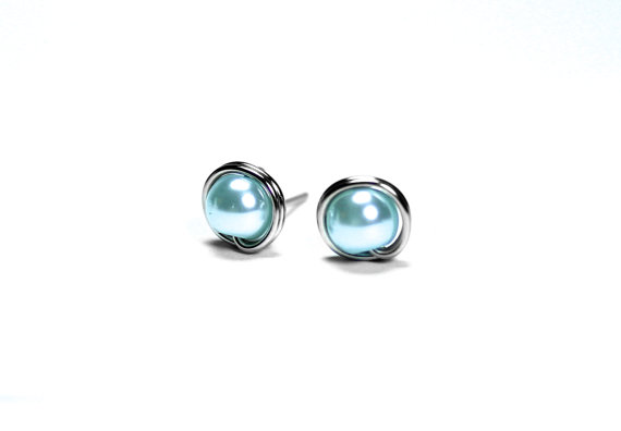 Düğün - Light Blue Pearl Earrings, Baby Blue Studs, Stainless Steel Hypoallergenic Earrings, Wire Wrapped Posts, Wedding Jewelry, Bridal Earrings