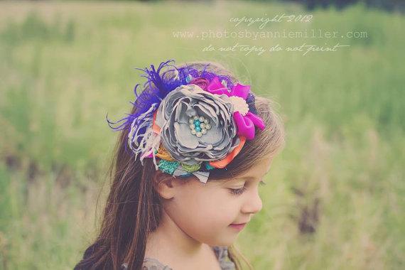 Свадьба - Plum Fairy-Baby Headbands-Children's Headbands-Persnickety 2013 Headband-Matilda Jane Headband-Flower Girl Headband-Fall Wedding