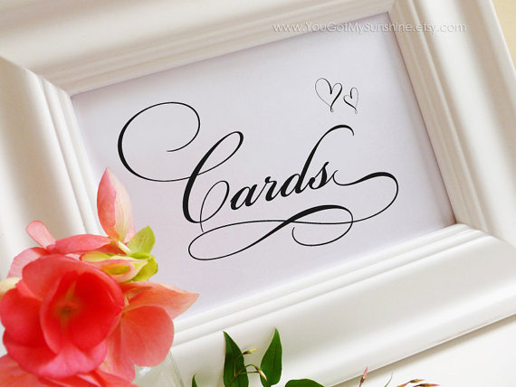 Свадьба - Cards & Gifts Box Card Decoration Wedding Table Sign - Romantic Love Reception Seating Signage - Elegant Calligraphy Script - RICHARD Style