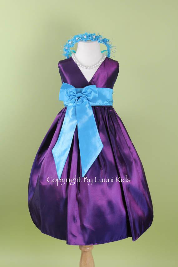 Flower Girl Dress - PURPLE V Dress With TURQUOISE Bow Sash - Easter ...