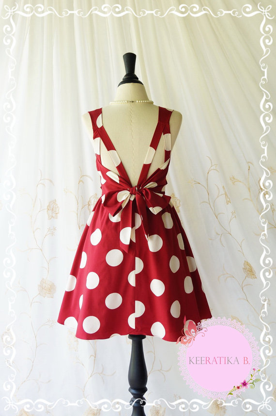 Свадьба - A Party Dress V Shape Polka Dot Dress Burgundy White Polka Dot Prom Party Dress Backless Red Bridesmaid Dress Wedding Cocktail Dress  XS-XL