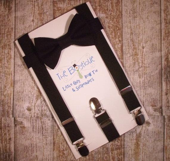 Свадьба - Black Bow Tie and Suspenders: Black Bow Tie and Black Suspenders, Toddler Suspenders, Baby Suspenders, Boys Suspenders, Ring Bearer