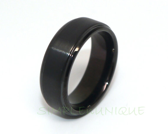Black Ring Tungsten Wedding Band Tungsten Carbide Ring Mens Tungsten