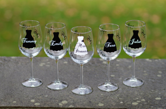 Bridesmaid Gift Idea Wine Gl Includes Name And Le Black White Winter Wedding Theme Or Your Colors 1