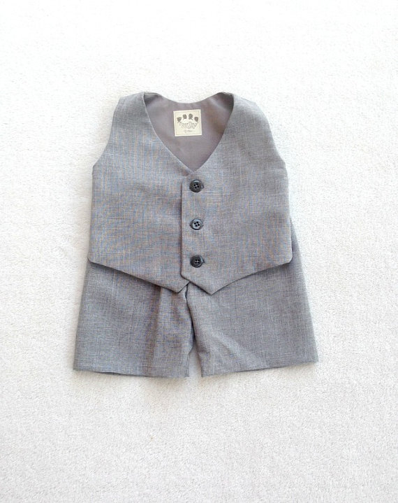 Wedding - Boys Vest Set, Baby Vest Set, Heather Gray, Infant Vest Set, Vest and Shorts, Ring Bearer Set, Ring Boy outfit, Baby boy suit