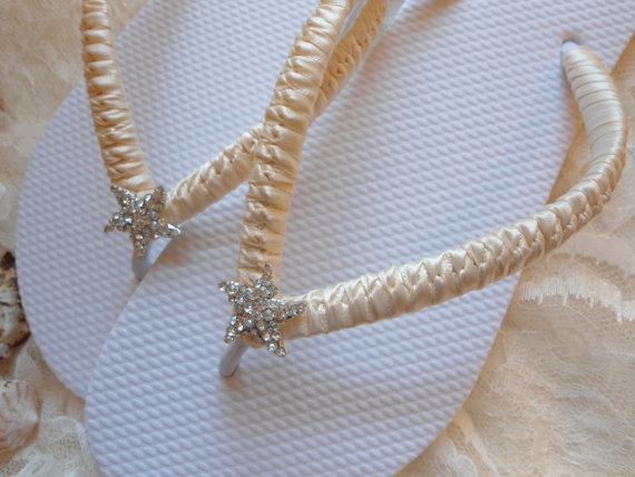 Wedding - Wedding sandals, Flat wedding shoes, Bridal slippers, ivory footwear, starfish flip flops, beach wedding flip flops