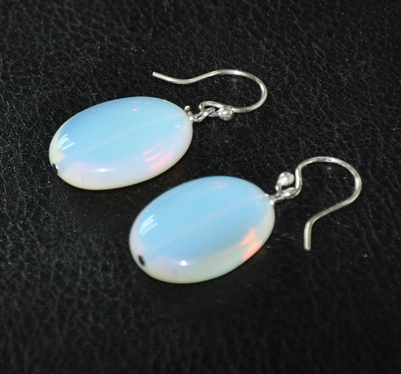 زفاف - Sterling silver earrings, dangle earrings, gemstone earrings, Opalite earrings, Chunky stone, Wedding Jewelry