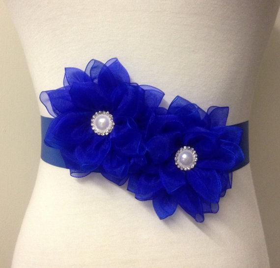 Mariage - Flower Sash-Royal Blue Sash-Bridal Flower Sash-Wedding Sash-Bride Flower Sash-Bride Belt-Ribbon Sash-Luxurious Lotus Organza Flower Sash