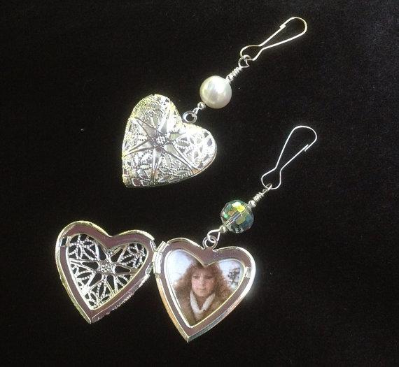 Bridal Bouquet Locket Charm : Wedding bouquet memorial charm with filigree heart locket