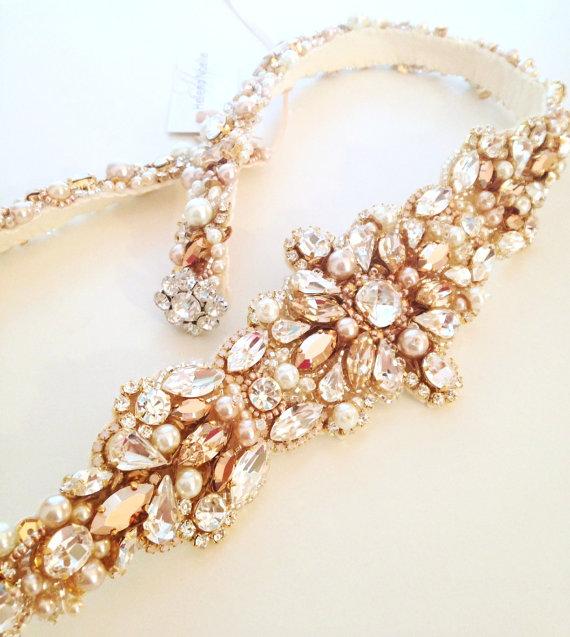 Rose Gold And Blush Crystal Bridal Belt Swarovski