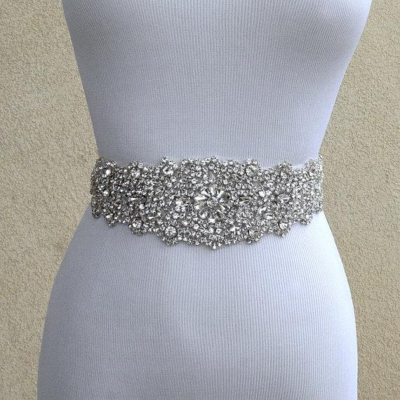 Bridal sash belt wedding dress sash belt rhinestone for Ivory wedding dress belt