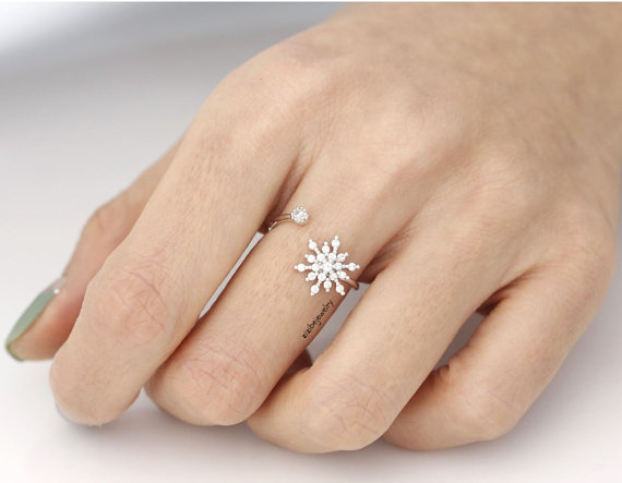 Mariage - Snowflake Adjustable Ring detailed with CZ in 3 colors