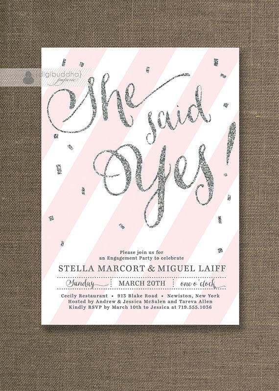 Silver Glitter Engagement Party Invitation She Said Yes Stripes Pink  Sprinkle Modern FREE PRIORITY SHIPPING Or DiY Printable   Stella  Free Engagement Party Invites