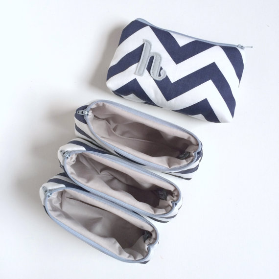 Mariage - Set of Four Navy & Grey Personalized Chevron Clutches, Monogram Bridal Cosmetic Bags, Wedding Party Gift, Winter Wedding Blue Silver