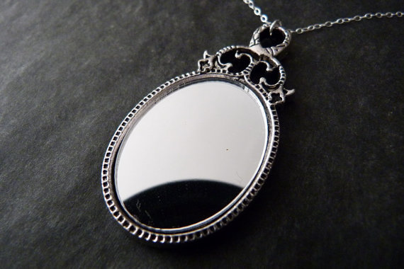 Mariage - Real Mirror Necklace Sterling Silver Romantic Jewelry Wedding Bridesmaids Gift
