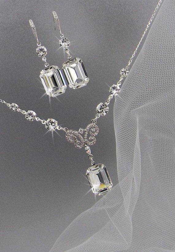 Mariage - Bridal Jewelry Set, Crystal Pendant Earrings Necklace Jewelry Set, Wedding Jewelry, Bridesmaids Jewelry Set, Kaitlyn Crystal Drop Set