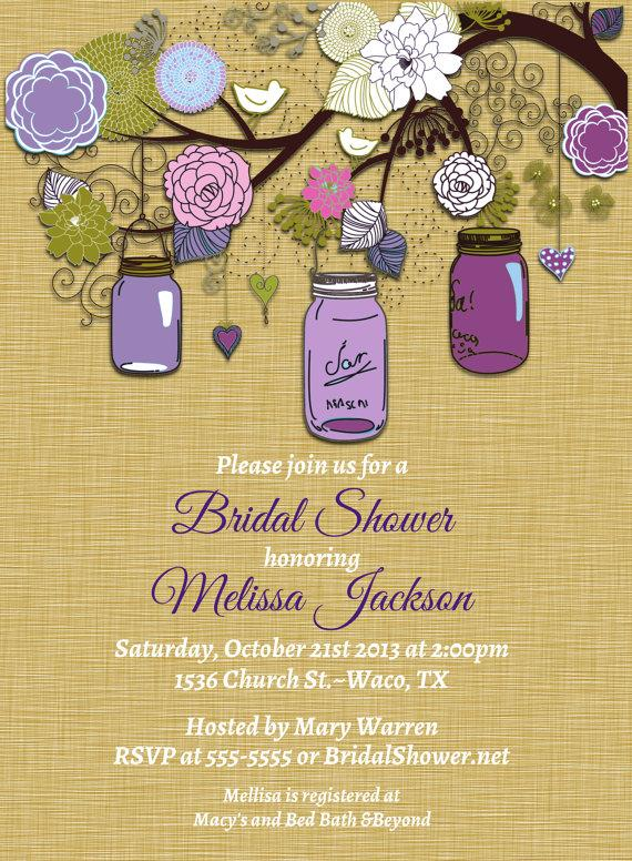 Vintage Mason Jar Invitations Purple Green Invitation Mason Jars – Garden Party Baby Shower Invitations