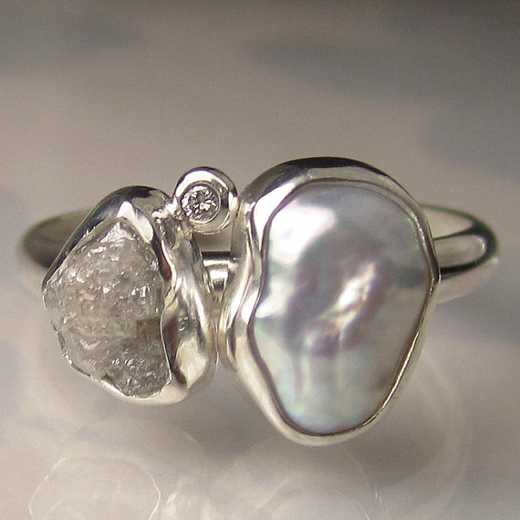 Mariage - Baroque Pearl and Rough Diamond Ring - Recycled Sterling Silver Engagement Ring - Made to Order