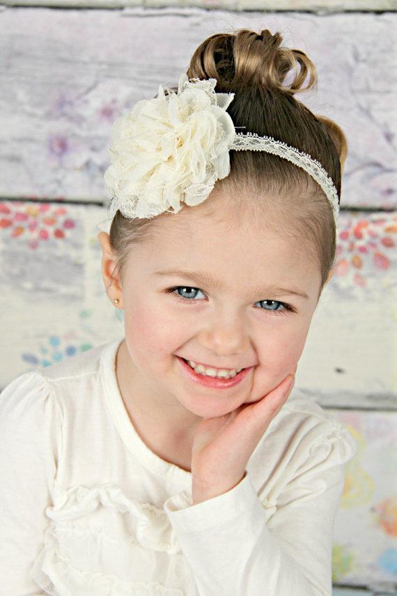 Baby Headband Ivory Lace Chiffon - Gift or Photo Prop - Newborn Infant  Toddler Girl Adult Flower Girl Wedding Flowergirl Elegant Prom 28034cc5faf