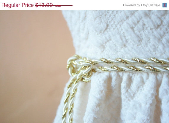 Mariage - SALE Gold and Ivory 'Tie the Knot' Wedding Sash