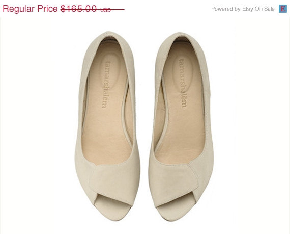3a85df3b24 ON SALE Aya Peep Toes, stone white, brides shoes, wedding, flat shoes