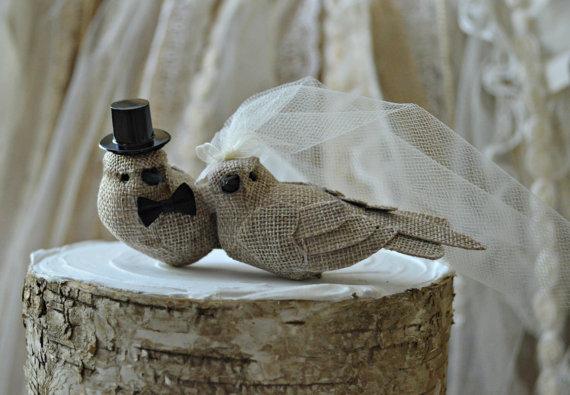 Wedding - Burlap birds wedding cake topper-burlap birds-rustic wedding-burlap- wedding cake topper-rustic burlap birds-western wedding-country western