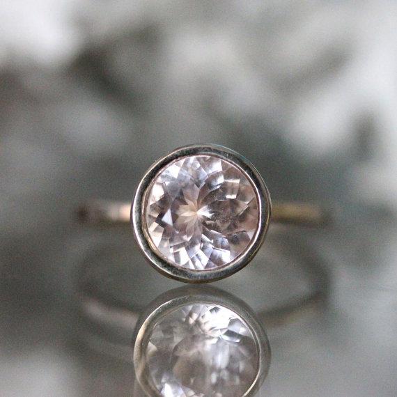 Wedding - Morganite 14K Palladium White Gold Engagement Ring, Gemstone Ring, Stacking RIng, Milgrain Inspired, Eco Friendly - Made To Order