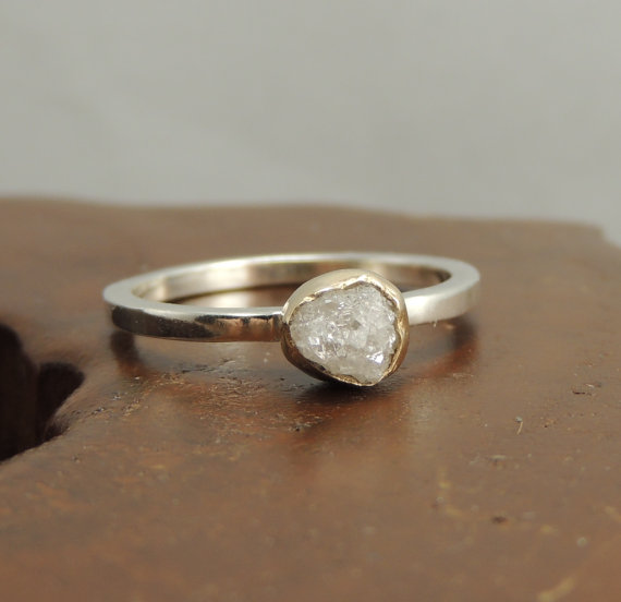 white uncut diamond engagement ring 14k gold and sterling silver rough diamond ring handmade diamond engagement - Handmade Wedding Rings