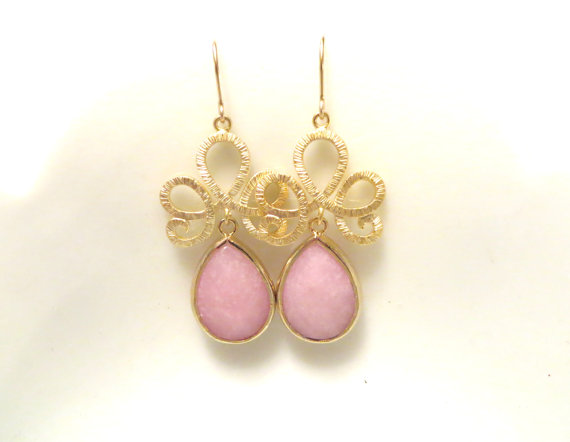 Blush Pink Earrings Gold Rose Quartz Wedding Jewelry Bridesmaid Jade Bridal Gift
