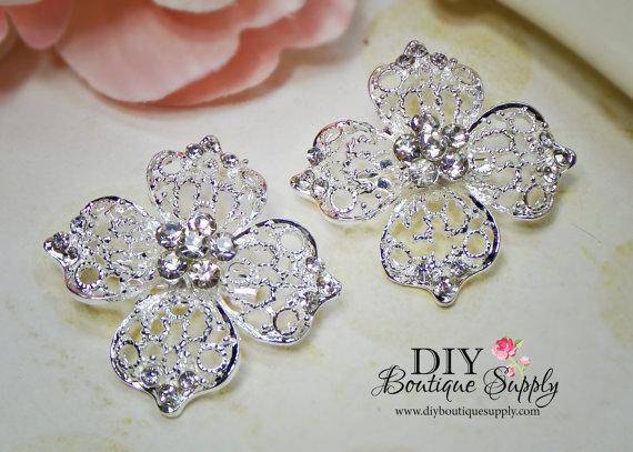 زفاف - 2 pcs Small Rhinestone Brooch Pins for Brooch Bouquet Crystal Brooch Wedding Bridal Accessories for sash pins shoe clips 40mm 686092