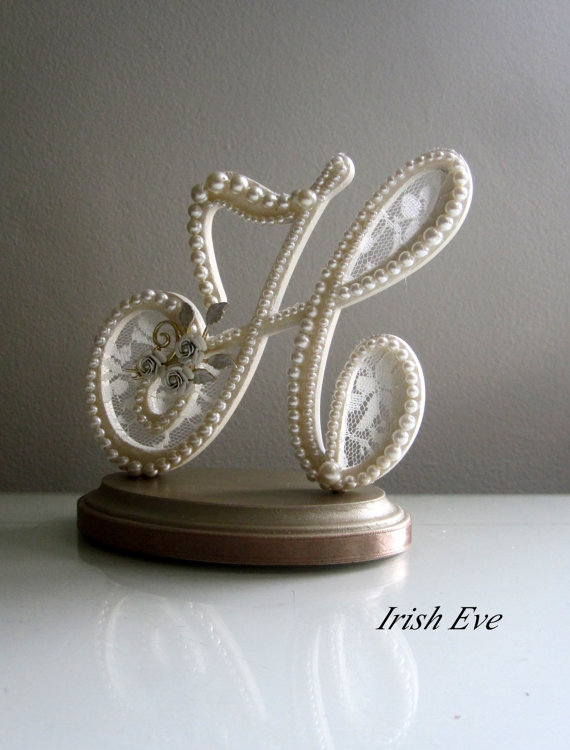 Wedding - Wedding Cake Topper & Display Monogram Letter H in Ivory Lace and Pearls with Ivory Rose Brooch for Shabby Chic, Vintage or Rustic Wedding