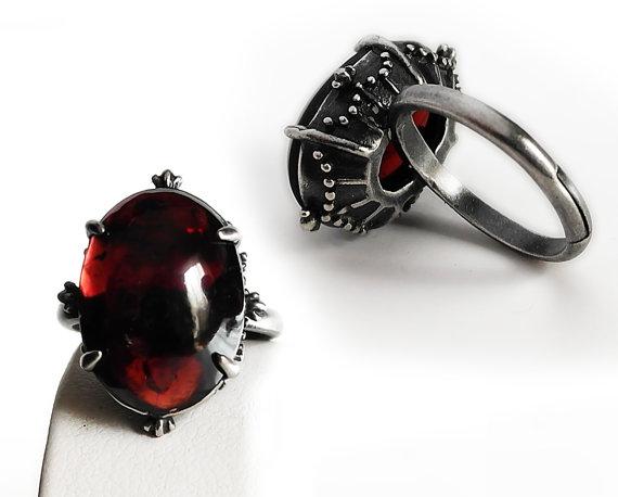 زفاف - Red Garnet ring Red ring red stone ring oxidized Silver ring Garnet Jewelry adjustable ring gemstone ring Engagement ring valentine's day