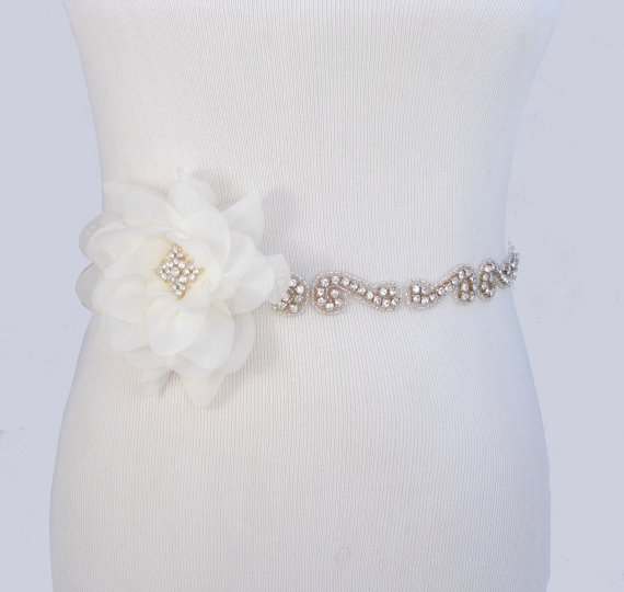 Flower wedding dress sash crystal rhinestone bridal belt for Rhinestone sashes for wedding dresses