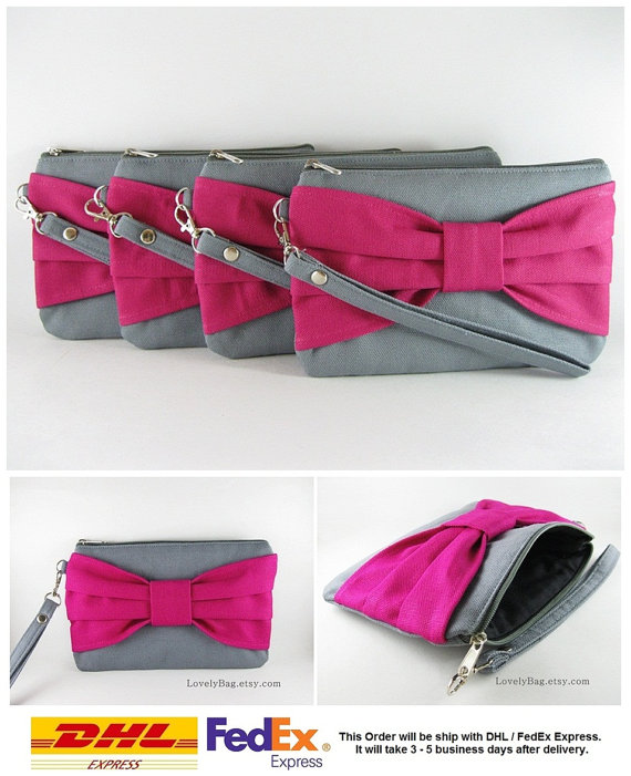 Wedding - SUPER SALE - Set of 7 Gray with Fuchsia Bow Clutches - Bridal Clutches, Bridesmaid Wristlet, Wedding Gift, Zipper Pouch - Made To Order