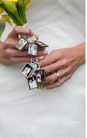 Mariage - 3 COMPLETE KITS to Wedding Bouquet Memory Photo Charms -for Bridal bouquet -Family photos and Initials (Includes everything you need)