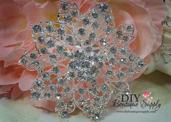 Mariage - Huge Rhinestone Brooch - Wedding Jewelry - Elegant Wedding Brooch Pin Accessories - Crystal Brooch Bouquet - Wedding Sash Pin 65mm 430198