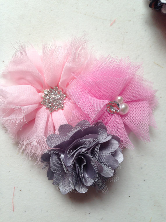 زفاف - Pink grey clip, Hair accessory- light pink chiffon, grey satin, pink tulle on Clip baby infant toddler child women teen wedding flowers girl