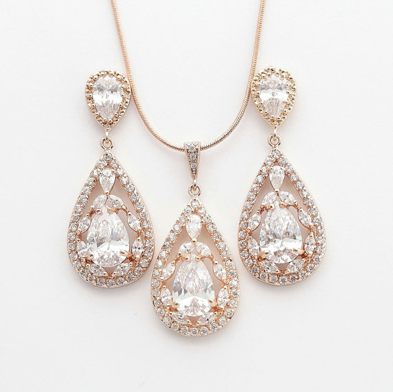 Rose Gold Jewelry Set Pink Wedding Earrings And Necklace Cubic Zirconia Large Teardrops Bridal Crystal