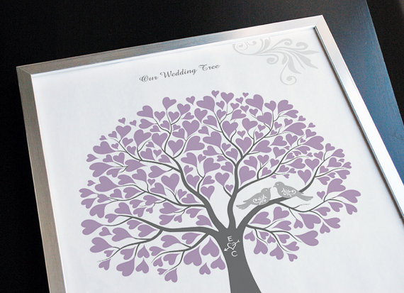 Wedding Tree With Love Birds Guest Book Alternative Poster Gift Personalized Your Own Colors 11x14