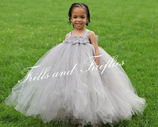 زفاف - Gray Flower girl dress, Grey Shabby Chic Tutu Dress, Silver Shabby Chic Flowers - OTHER COLORS AVAILABLE  12-24 Mo, 2t, 3t, 4t, 5t, 6