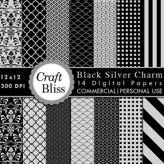 زفاف - Black Silver Charm Digital Paper Pack Commercial Use INSTANT DOWNLOAD Digital Scrapbook Papers Wedding Invitation Gift Wrap Craft Supplies